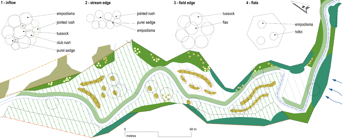Riparian planting plan excerpt showing four planting modules
